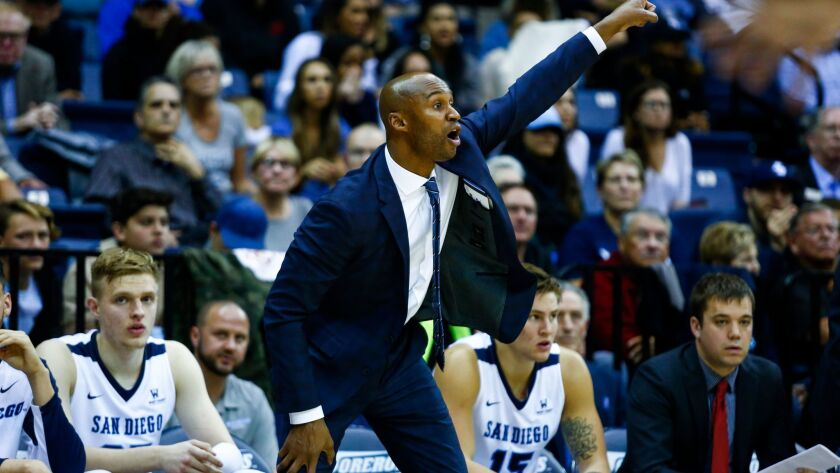 Lamont Smith motions from the sidelines as the Toreros defend against Gonzaga on Feb. 22.