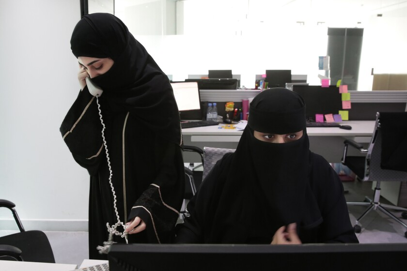 At Glowork, a work employment agency where Saudi women help other women find jobs, recruiters with the agency work the phones trying to find jobs for other women. When one is hired, they ring a bell.