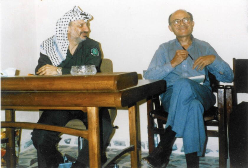 Leonard Beerman with Palestinian leader Yasser Arafat in Jordan in 1983. Beerman believed that Israel should claim the moral high ground and not resort to violence.