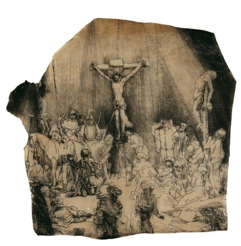 "Rembrandt's ""Three Crosses"" first sparked Robert Hoehn's interest in collecting the Dutch master's prints and he says it's ""still probably the one I love the most."" The print is among those on exhibit at the University of San Diego through May 24."