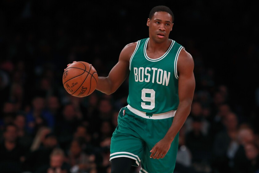 Demetrius Jackson brings the ball up court during his rookie season with the Boston Celtics.