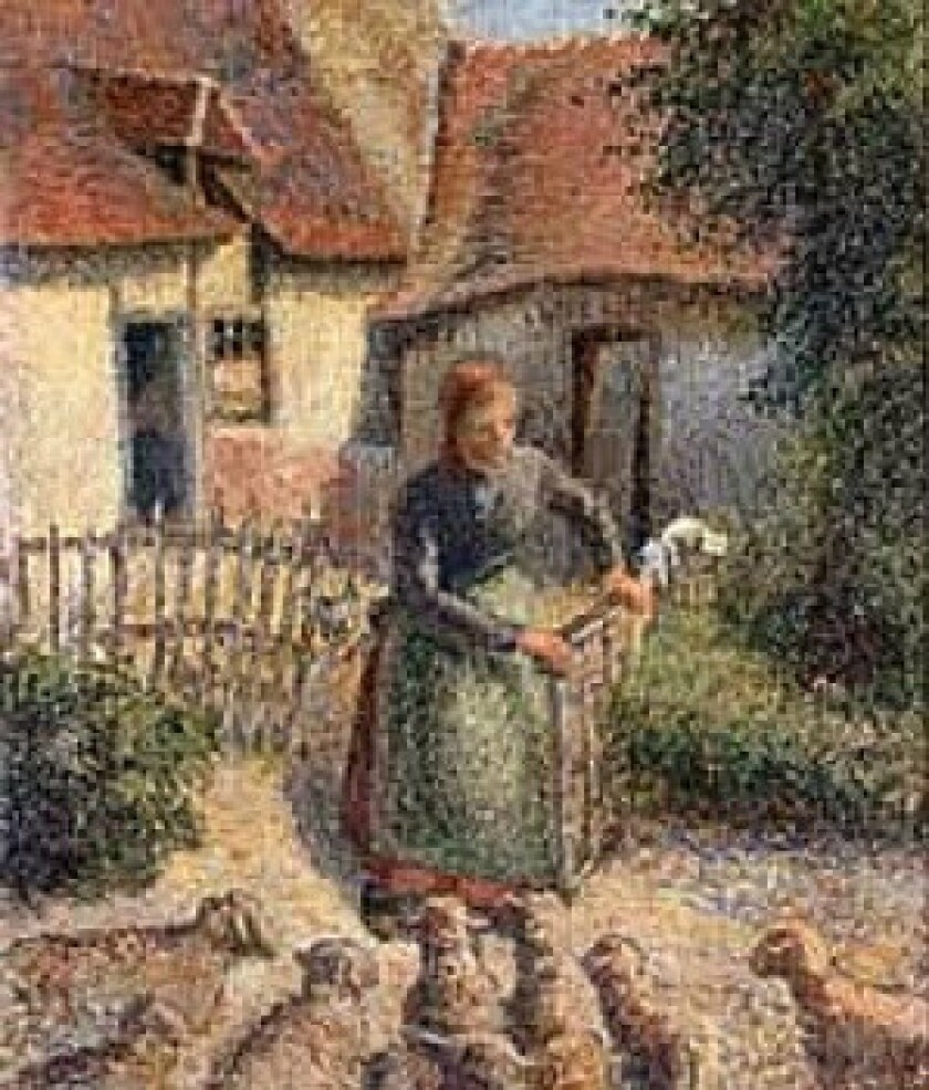 """Camille Pissarro's 1886 painting """"Shepherdess Bringing in Sheep"""" is at the center of a dispute between the University of Oklahoma and a family in France."""