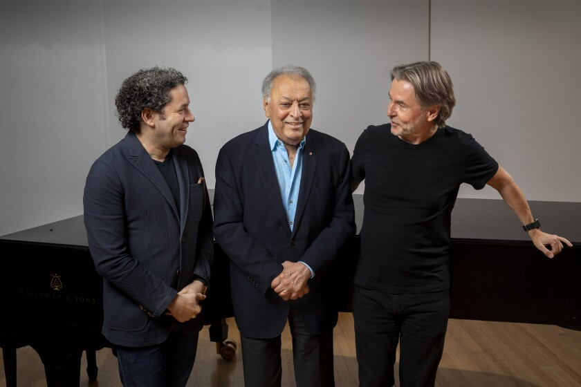 Gustavo Dudamel, left, Zubin Mehta and Esa-Pekka Salonen photographed before a rehearsal at Walt Disney Concert Hall.