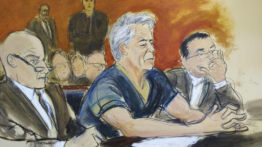 In this courtroom artist's sketch, defendant Jeffrey Epstein, center, sits with attorneys Martin Wei