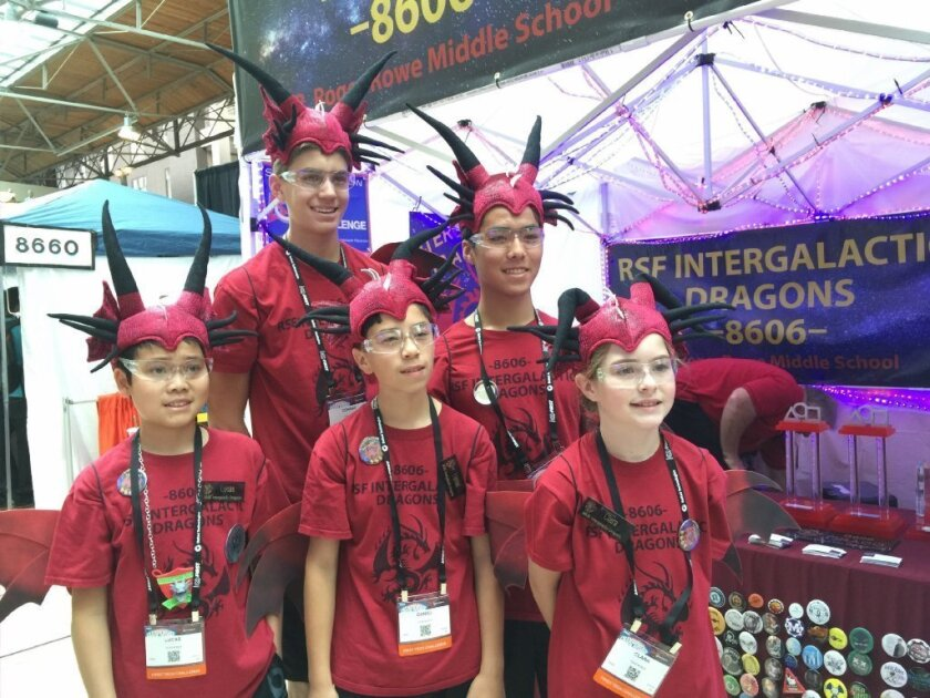 The Intergalatic Dragons robotics team, front row: Lucas Luwa, Daniel Scuba, Clara Ritto. Back row; Conrad Delgado, Justin Yu. Courtesy photo