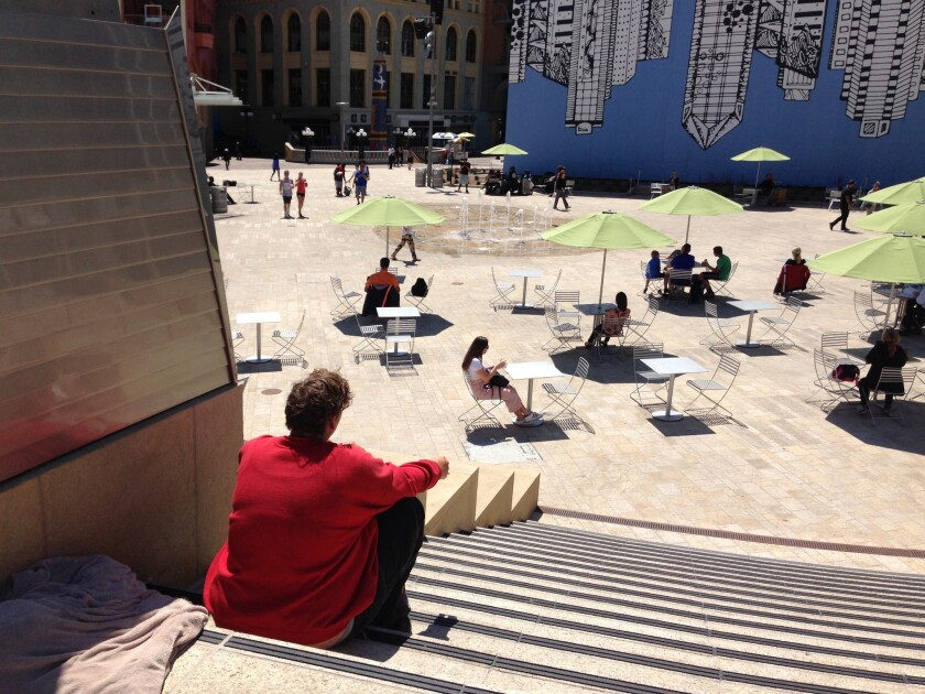 The new amphitheater at Horton Plaza Park overlooks an interactive fountain and area for special eve