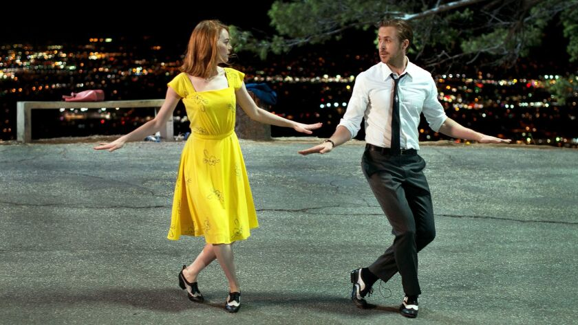 """Emma Stone and Ryan Gosling in a dance passage from """"La La Land."""""""