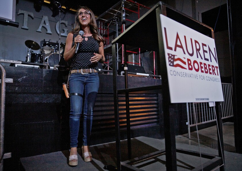 Lauren Boebert speaks during an election-night watch party June 30, 2020.