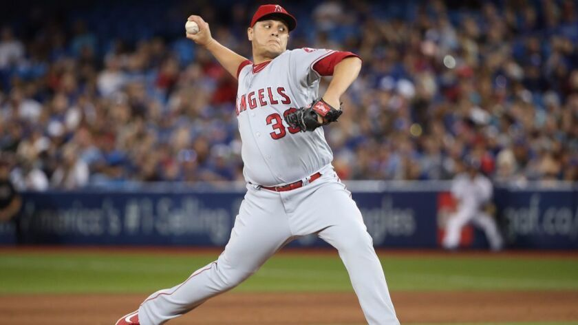 David Hernandez delivers a pitch in the eighth inning during a game betweeb the Angels and Toronto Blue Jays on Friday. The Angels traded Hernandez to the Arizona Diamondbacks on Monday.