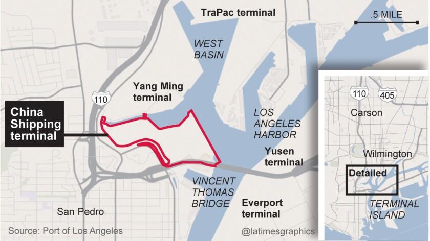 Location of China Shipping terminal.