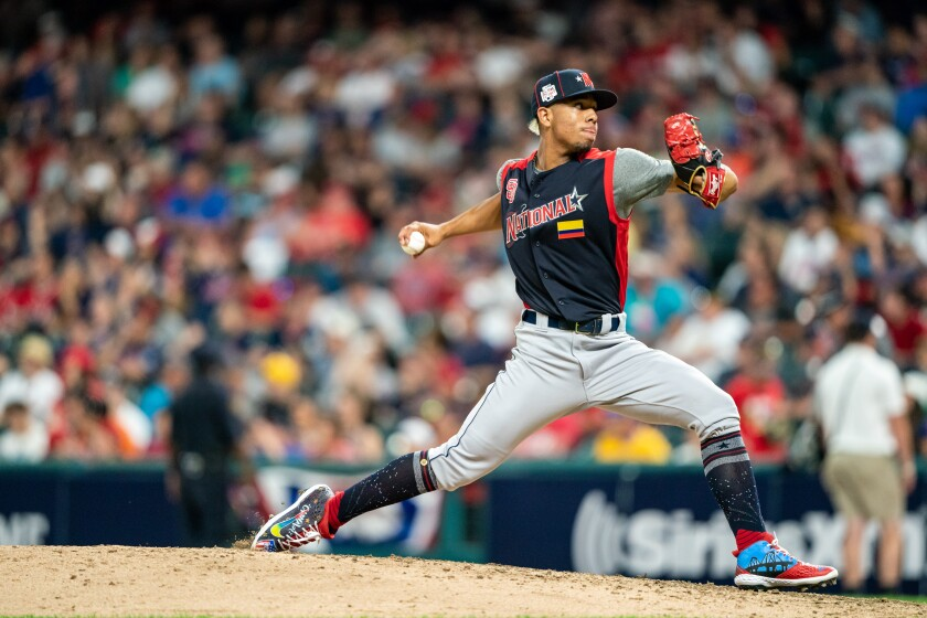 Luis Patino pitches during the All-Star Futures Game on July 7 at Progressive Field in Cleveland.