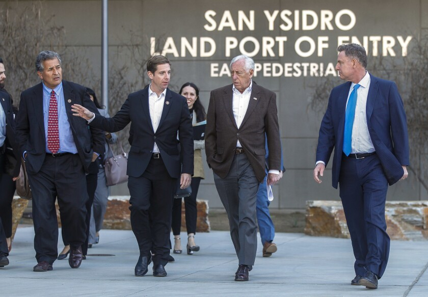 SAN YSIDRO, February 22, 2019 | House Majority Leader Steny Hoyer, second from right, walks with Con
