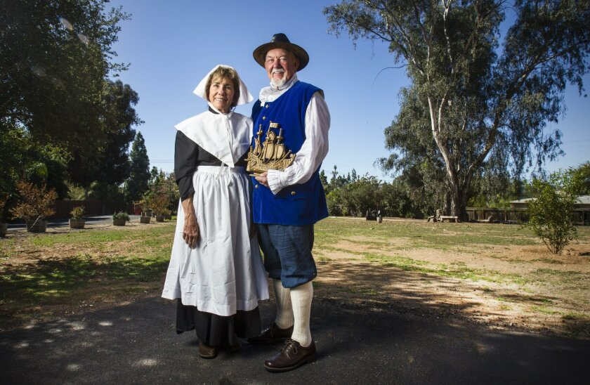 Gail Raser, left, and her husband, Ray Raser, trace their lineage to the Mayflower. Both are active in the San Diego colony of Mayflower descendants.