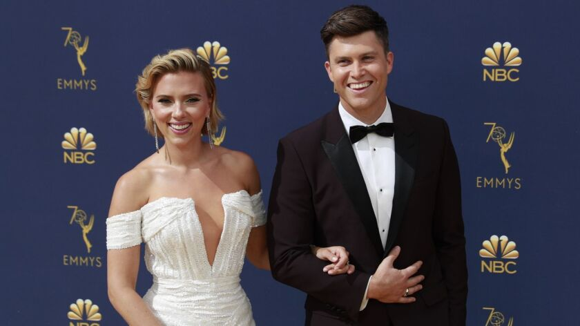 LOS ANGELES, CA., September 17, 2018: Scarlett Johansson and Colin Jost?arriving at the 70th Primeti