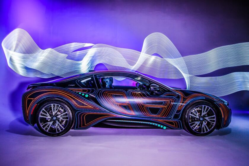 Artwork designed on a BMW I8 by Dominic Fontana will be on display during Bloom Bash.