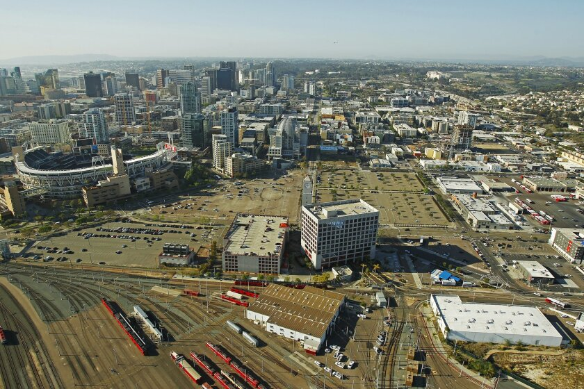 The aerial view of downtown San Diego, and east of Petco Park, where 10 acres are being considered as the site for a new Chargers stadium.