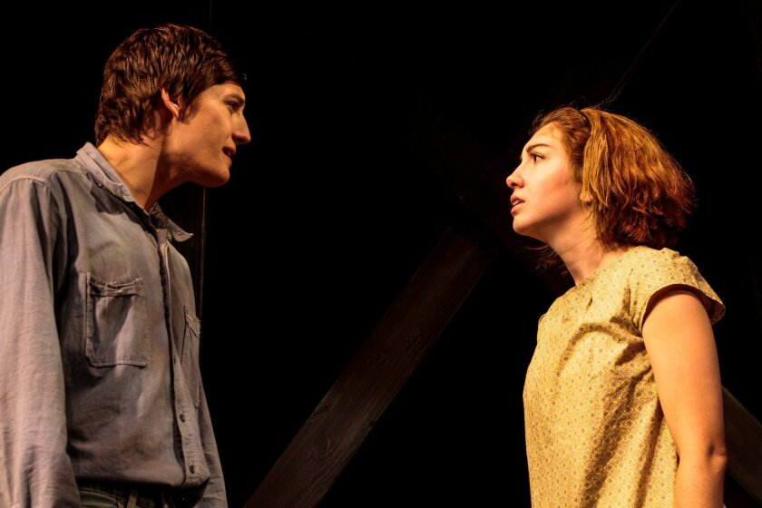 "Ryan Kidd and Amanda Osborn in Moxie Theatre's ""The Trestle at Pope Lick Creek."""