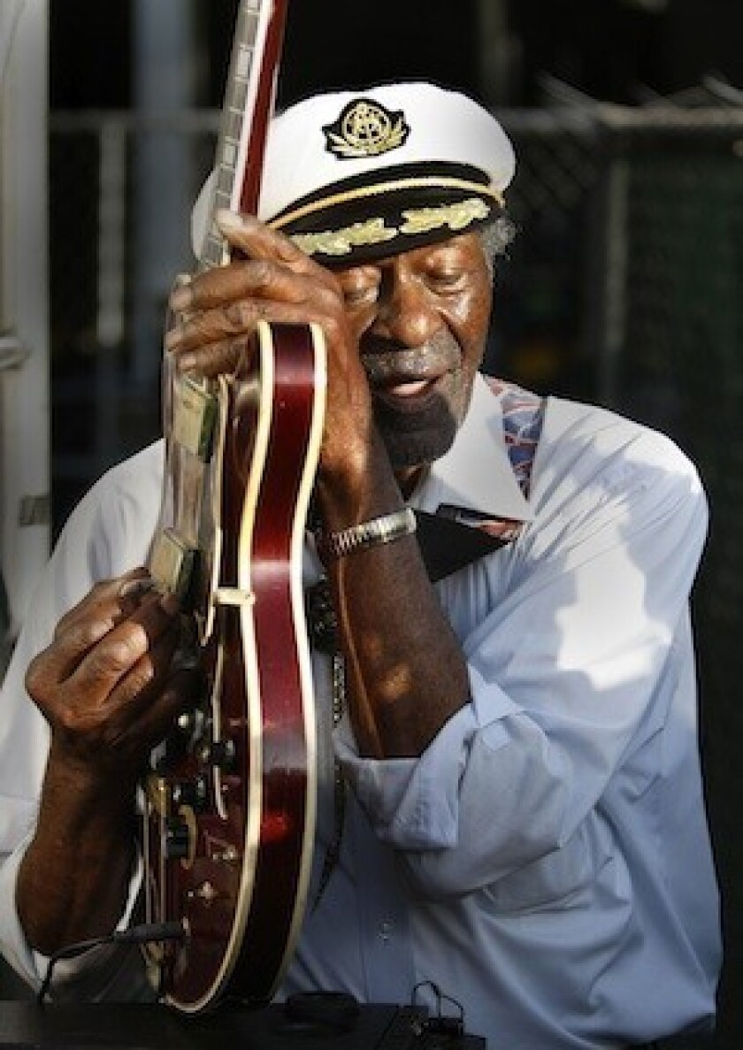 Rock legend Chuck Berry during a Southland visit to Irvine in 2010.