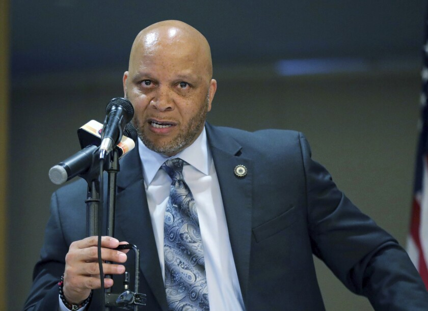 FILE - In an April 23, 2019 file photo, Atlantic City Mayor Frank Gilliam Jr. speaks at the Atlantic City Implementation Plan. Frank Gilliam Jr. Gilliam Jr. pleaded guilty in federal court in Camden, Thursday, Oct. 3, 2019 to wire fraud, admitting he defrauded a basketball club out of $87,000.(Craig Matthews/The Press of Atlantic City via AP, File)