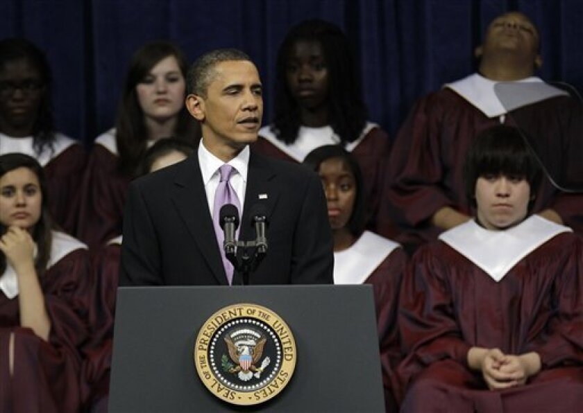 President Barack Obama delivers the commencement address for Kalamazoo Central High School, the winner of the 2010 Race to the Top High School Commencement Challenge, at Western Michigan University Arena in Kalamazoo, Mich., Monday, June 7, 2010. (AP Photo/Paul Sancya)