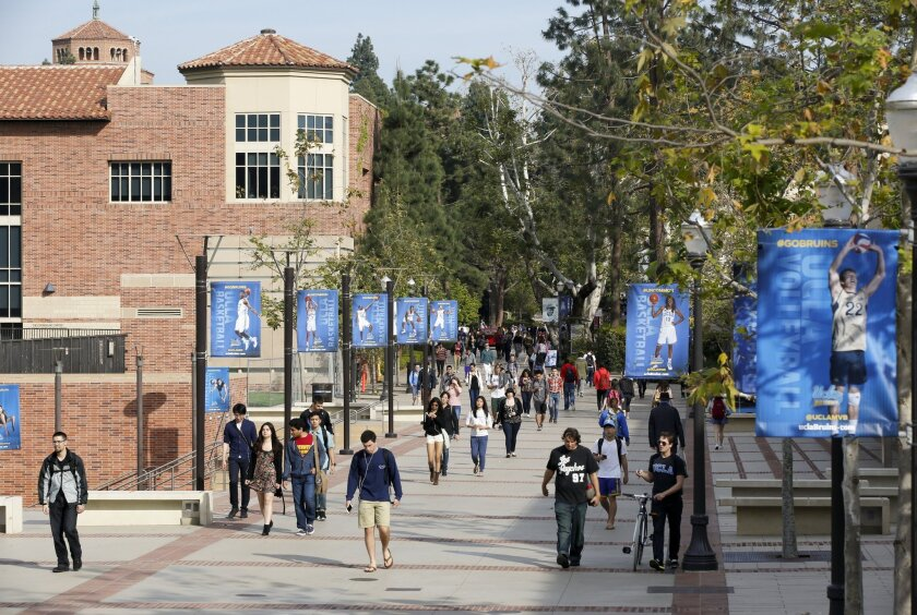 Students walk on the UCLA campus