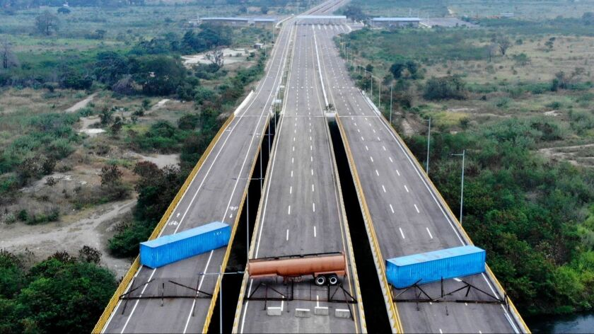 Venezuelan soldiers erected blockades on the Tienditas Bridge at a border crossing between Colombia and Venezuela.