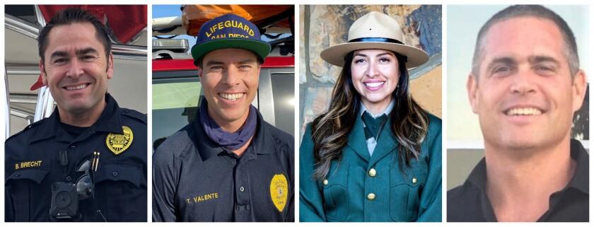 "Police Sgt. David ""Bryan"" Brecht, lifeguard Thomas Valente, park ranger Araceli Dominguez and fire Capt. Jared Cheselske"