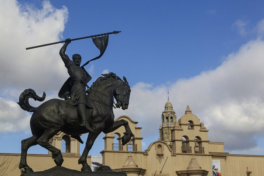 The statue of El Cid is often assumed to be a likeness of Balboa, the Spanish explorer for whom Balboa Park is named.