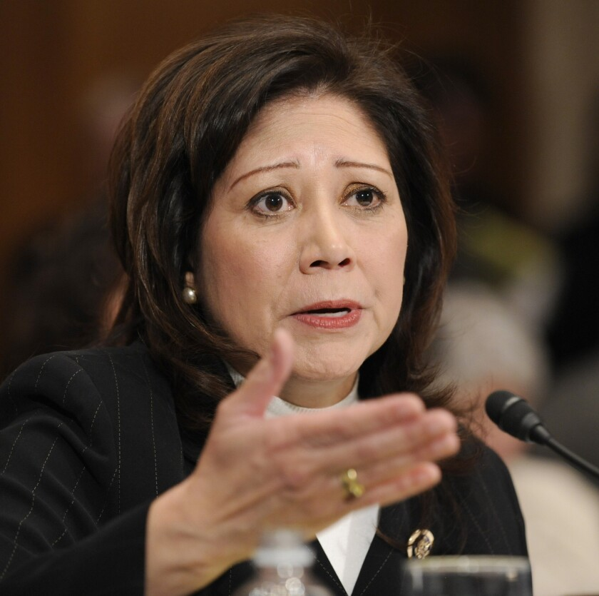 Former Secretary of Labor Hilda Solis, seen in 2009, has taken a post as scholar in residence at Cal Poly Pomona.
