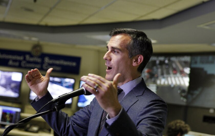 "Los Angeles Mayor Eric Garcetti, shown earlier this month, said the new command center ""will identify and investigate cyber threats to city assets, ensure any intrusion is immediately addressed, and will constantly work to reduce security risks and prevent unauthorized access."""