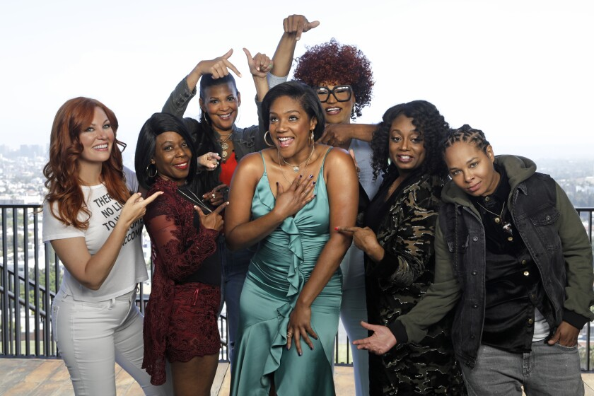 "Tiffany Haddish surrounded by the comedians she's highlighting in ""Tiffany Haddish Presents: They Ready"""