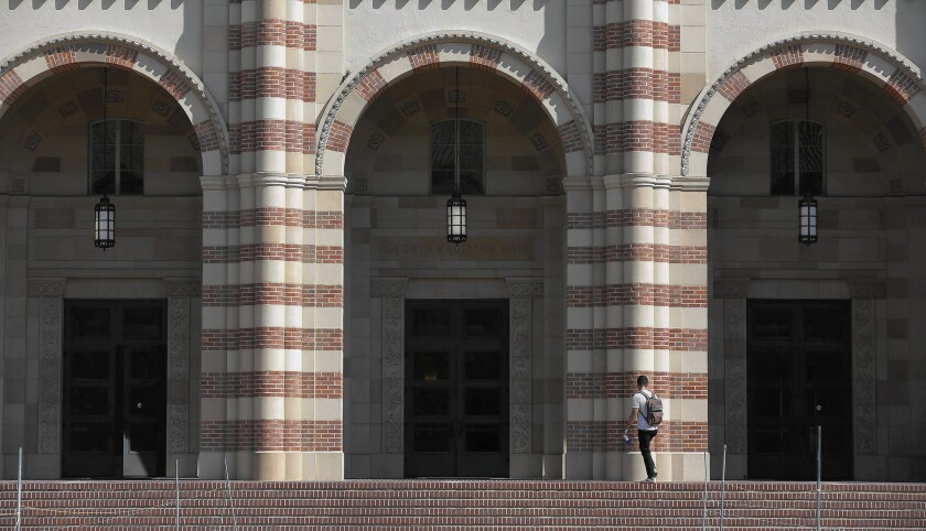 UC President Janet Napolitano's plan for enrollment increases is in part a response to criticism from legislators and parents that UC had added too many students from other states and nations for the higher tuition those students pay. Above, at UCLA.