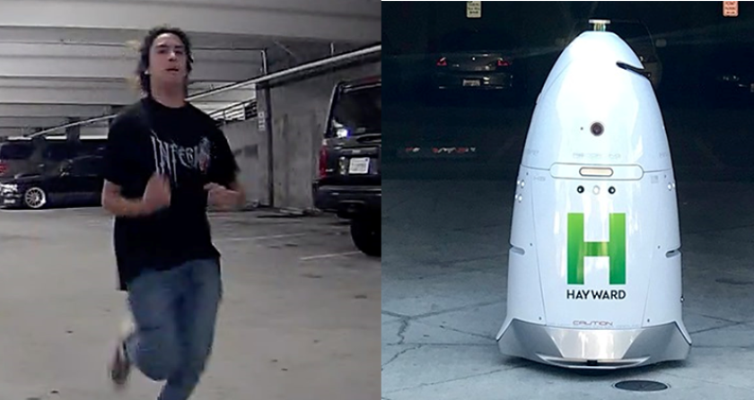 Hayward police are looking for a young man suspected of damaging a security robot in a parking garage.