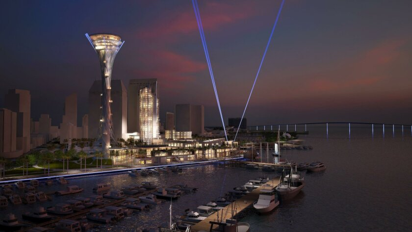 Special lighting would illuminate The Spire and the waterfront promenade along Embarcadero Marina Park North.