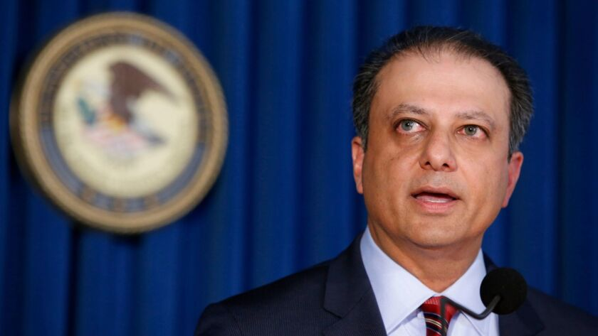 U.S. Atty. Preet Bharara speaks at a news conference in New York. The Manhattan federal prosecutor known for crusading against public corruption said he was fired after refusing to resign.