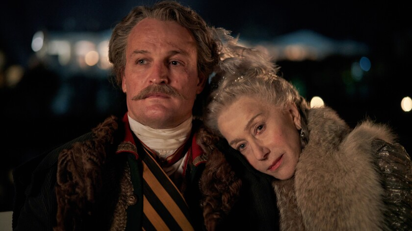 "Jason Clarke as Grigory Potemkin and Helen Mirren as the empress of Russia in the HBO miniseries ""Catherine the Great."""