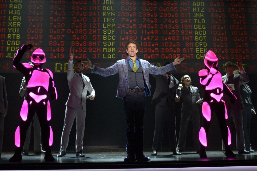 "Paul Nolan (center) and the cast of La Jolla Playhouse's ""Yoshimi Battles the Pink Robots."""