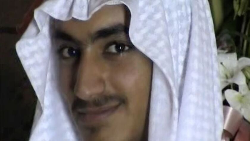 Hamza bin Laden, son of Osama bin Laden, is seen in a screenshot released by the CIA and taken from a video of his wedding.
