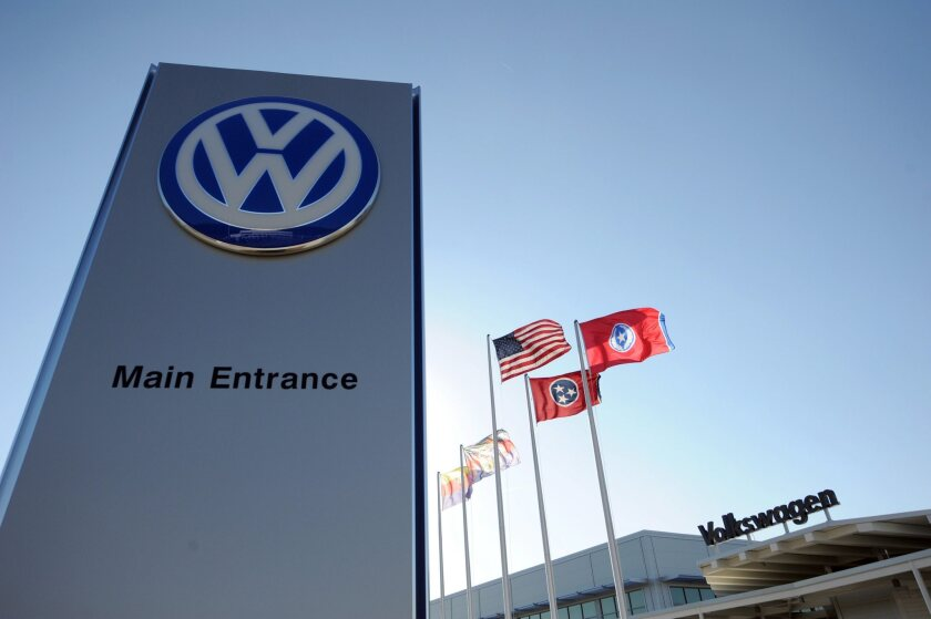 The main entrance of the Volkswagen automobile assembly plant in Chattanooga, Tenn., in 2012.