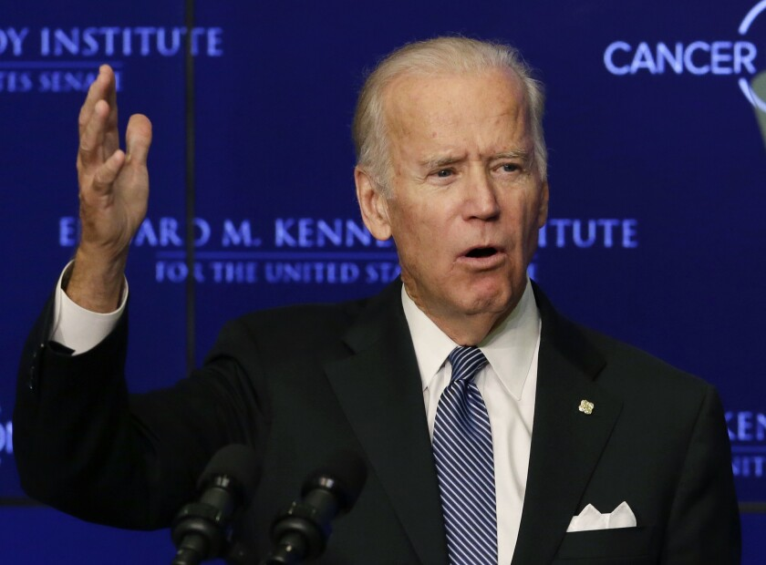 Joe Biden gestures while speaking in 2016 at an event in Boston.