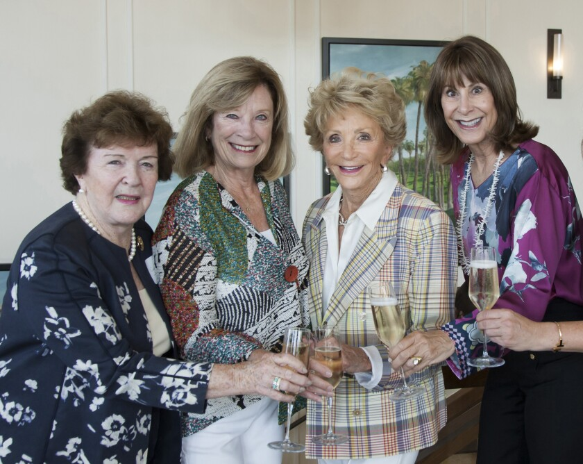 Catherine Thyen, Harriet Harris, Barbara Bowie and Kate Eastman celebrate the upcoming Angelitos de Oro event.