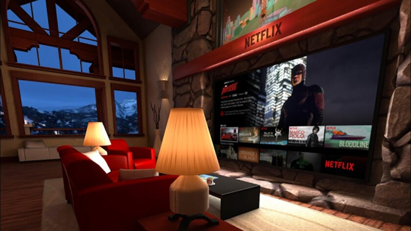 A mock-up of what Netflix's virtual-reality experience will look like. The streaming service, along with Hulu, announced plans to get in on the 3D experience.