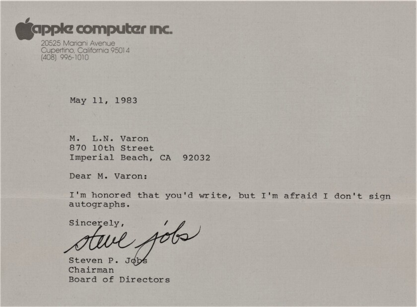 Apple's Steve Jobs had a sense of humor, as shown by this autographed letter -- in which he says he does not give autographs.