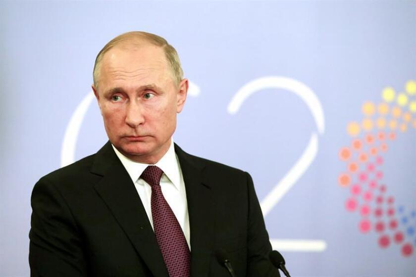 El presidente ruso, Vladimir Putin, durante la conferencia de prensa tras terminar la reunión de la Cumbre del G20 hoy, sábado 1 de diciembre de 2018, en Buenos Aires (Argentina). EFE/Mikhail Klimentyev/Kremlin