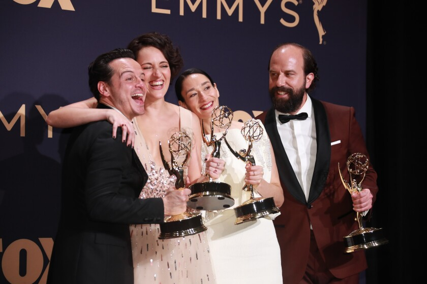 """From left, """"Fleabag"""" cast members Andrew Scott, Phoebe Waller-Bridge, Sian Clifford, and Brett Gelman in the General Photo Room at the 71st Primetime Emmy Awards at the Microsoft Theater in Los Angeles."""