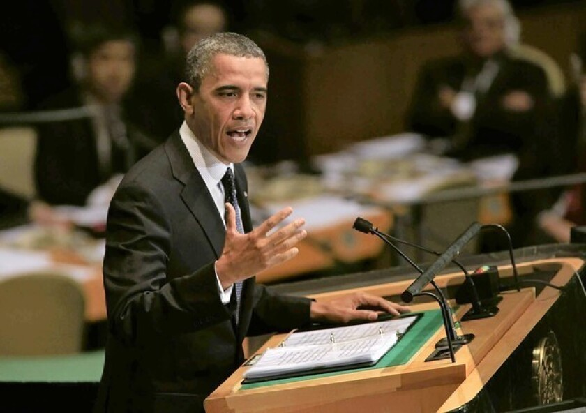 """In a speech at the U.N., President Obama said the strongest weapon against hateful speech """"is not repression; it is more speech."""""""