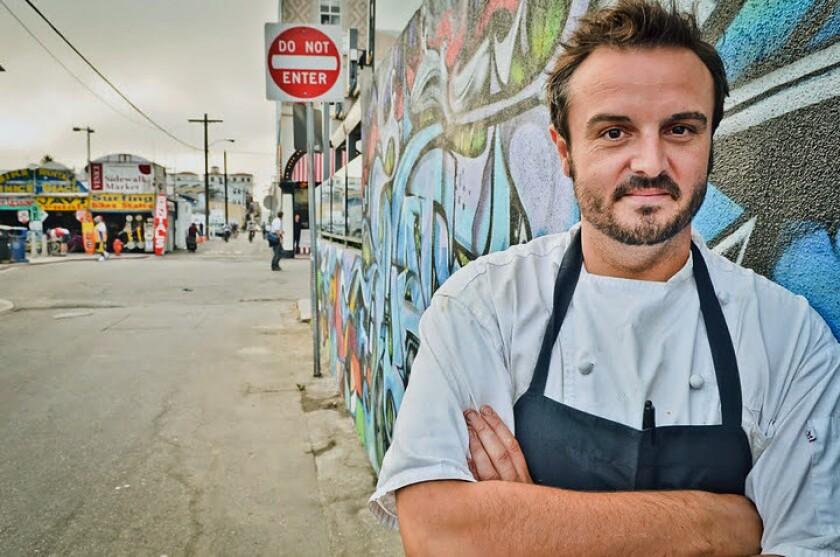 Chef Brendan Collins poses for a photo in Venice.