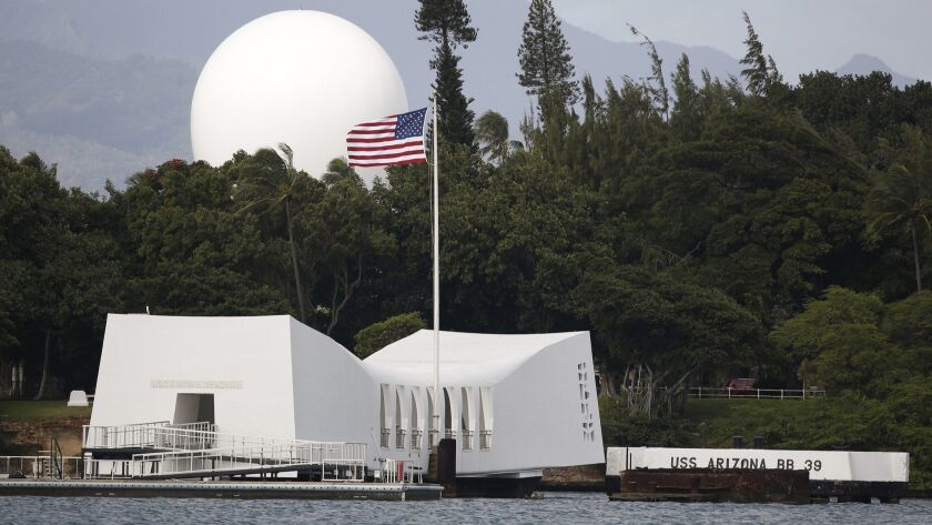 FILE - In this Dec. 27, 2016, file photo, USS Arizona Memorial, part of the World War II Valor in th