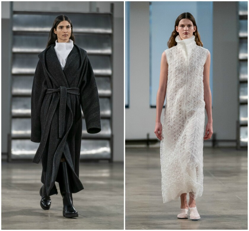 Two fall looks from the Row, the fashion label designed by Ashley and Mary-Kate Olsen