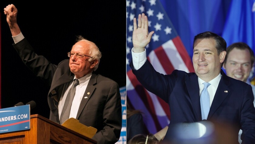 Candidates Bernie Sanders and Ted Cruz claimed victories in the Wisconsin primary April 6.